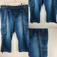 Venezia Womens Capri Jeans 24 Cropped High Waist Peddle Pushers Cargo Denim Blue