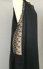 BNWOT DESIGNER COCOON BLACK PURE SILK LONG SLIP NIGHTGOWN LACE PANELS/SLITS