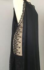NUOVO senza etichetta di marca Cocoon NERO PURA SETA lunghi Slip Camicia da Notte Pizzo Pannelli/FESSURE