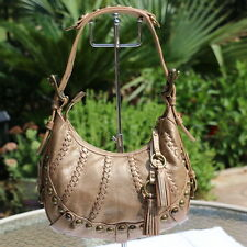 EUC Isabella Fiore Hippie Hobo Metallic Leather Shoulder Bag Purse Tassel Keyfob
