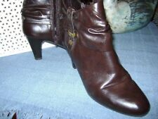 "LIFE STRIDE Yonder Womens Brown 3"" Faux Wood Heel Side Zip Ankle Boots 7M"