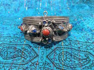 vintage Moroccan Berber Tuareg white metal silver coral & enameled pinned bangle