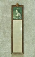 19th c. French Victorian Trumeau Wall Mirror Girl & Spaniel Dog Antique Rococo