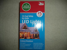 LED Icy Icicle Holiday Indoor/Outdoor Icicle Lights 25 COOL WHITE (Set of 2)