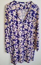 Diane Von Furstenberg $348 REINA Silk Jersey Knit Tunic Dress Floral Size 2
