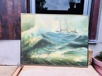 Antique Artist Fine Oil Painting Of Thunderstorm In Ocean On Hard Board Framed