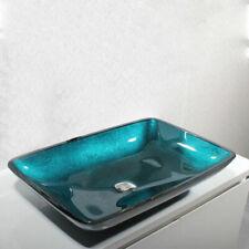 Greenish-Blue Vanity Bowl Tempered Glass Bathroom Vessel Sink Basin Rectangular