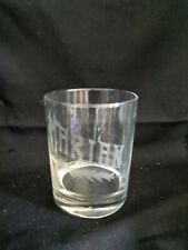 Vintage MARIAN Grey Etched Cut Double Old Fashioned DOF Rocks Whiskey Glass
