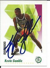Signed 1991-92 Sky Box Kevin Gamble Boston Celtics Basketball card #14 w/COA