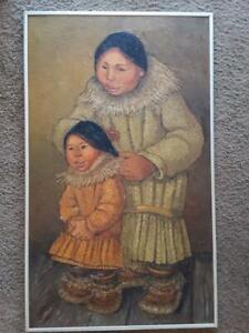 "Vintage Alaskan Artist Joan Arend Kickbush Oil Painting on Board 18""x30""  Signed"