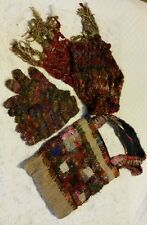 Set of Bag, Gloves and Scarf 100% Raw Silk Multi-Coloured Hippie style