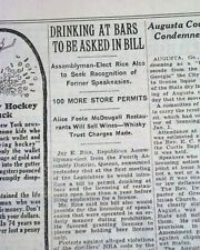 PROHIBITION COMES TO AN END Beer & Liquor Returns DRY No More 1933 NYC Newspaper