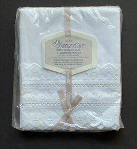 NEW Vintage Estate WAMSUTTA Cotton Standard PILLOWCASES Eyelet WHITE Embroidered