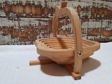 Folding Apple fruit bowl made of bamboo wood - fruit and egg basket..