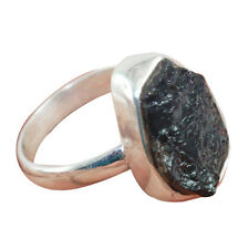 925 Solid Sterling Silver Natural Black Rough Tourmaline Ring Size 7.75 IN-1261