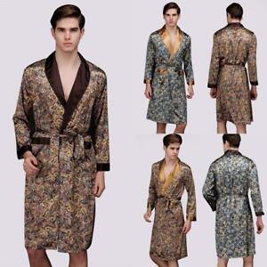 Mens Satin Silk Summer Pajamas Kimono Bathrobe Robe Dressing Gown Loungewear