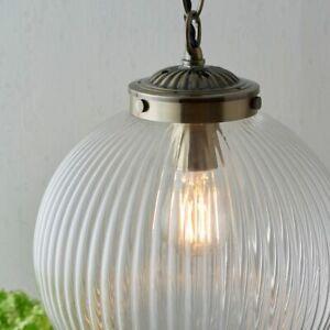 Single Light Pendant Art Deco Ceiling Fitting Ribbed Glass & A. Brass Dia: 25cm