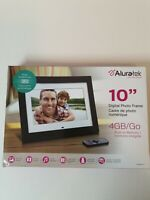 "Aluratek Digital Photo Frame ADMPF410T ,4GB/GO, 10"", Built in Memory ,Pre-owned"