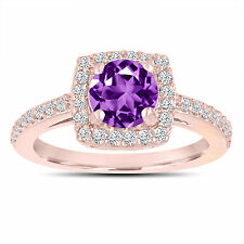 Amethyst Engagement Ring With Diamonds 14K Rose Gold 1.38 Carat Certified