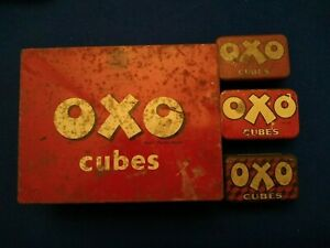 Vintage shabby chic - Oxo Tins 1 Large & 3 Small