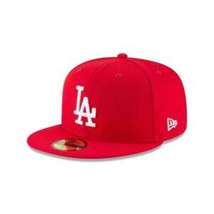 New Era 59Fifty Los Angeles Dodgers Scarlet Basic Men's Fitted Hat Red 11591141