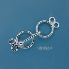 Sterling Silver 2 Strand Plain Round Toggle Hook Clasp Connector 32mm #33265