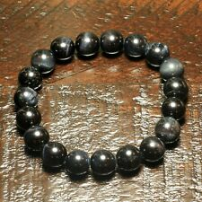 10 mm Black Tiger Eye Beaded Courage Bracelet Men/Women Chakra Natural Stone