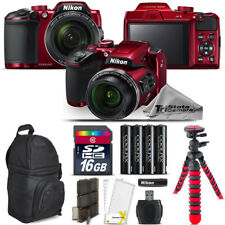 Nikon COOLPIX B500 RED Camera 40x Optical Zoom + Tripod + Backpack - 16GB Kit