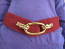 Vintage 70\u2019s Bo-Ho Lux Pommegranite Red Leather Rivet Lace Up Dangling Tie Belt with Studded Leaves Detailing