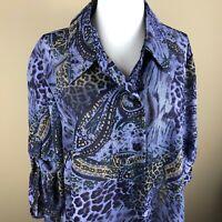 Studio I Women's Petite 3/4 Sleeve Tunic Top Blouse Size 18WP Purple Black