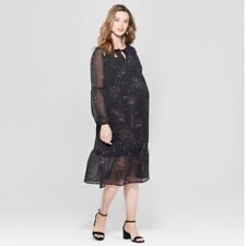 Isabel by Ingrid and Isabel Black Star Maternity Flounce Sz XL Dress NWT