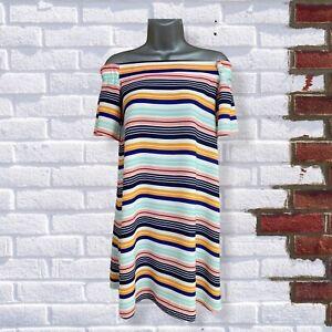 NEW LOOK - Womens UK 10 Short Sleeve Multicoloured Striped Long Bardot Top
