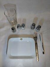 Lot of 9 Northwest Orient Airlines vintage dish pen fork glass salt and pepper