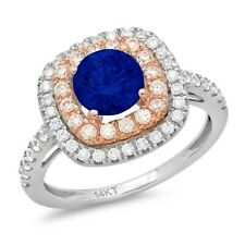 1.75 ct Round Halo Blue Sapphire Promise Bridal Wedding Ring 14k two tone Gold