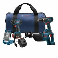 BOSCH CLPK495-181 NEW 4-Tool 18-Volt Li-Ion Cordless 18V Combo Kit with Bag