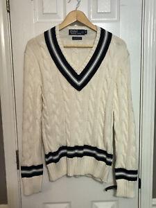 POLO Ralph Lauren V Neck Pima Cotton Cable Knit Varsity Tennis Cricket Sweater~M