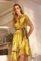 Karen Millen Yellow Pleated Floral Midi Dress UK Size 12