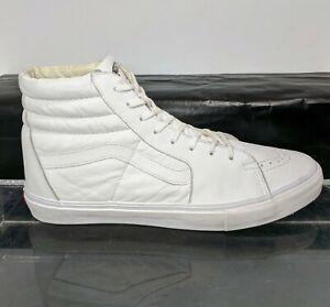 VANS VAULT OG SK8-HI LX Triple White Sneakers Leather Upper Size US 11M
