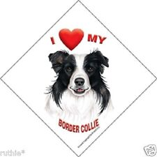I love (heart) My Border Collie Hanging Sign with Suction Cup  Color Made in USA