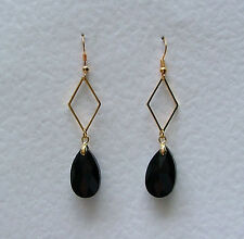 BLACK FACETED GLASS CRYSTAL GOLD PL diamond shaped EARRINGS DM