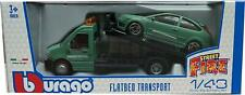 Flatbed Transporter with a Ford Focus ST in dull green 1:43 scale model, Bburago