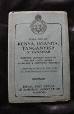 Vintage Road Map of Kenya, Uganda, Tanganyika & Zanzibar - Royal E Africa AA