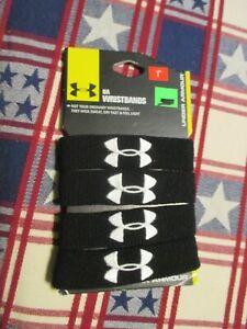 "*NEW* Under Armour Unisex UA 1"" Performance Wristband 4-pack, BLACK *NEW*"