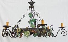 Lampadario rustico antico 6 luci led ferro battuto decorato a mano art.682 nuovo
