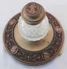 Fine Antique Elaborate Bronze & Brass Inkwell~Classical Portrait Medallions~VGC