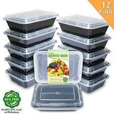 Meal Prep Containers [12 Pack] 1 Compartment with Lids Food Storage Bento Box