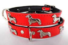 *DACKEL* Hundehalsband, LEDER, Halsumfang 36-41cm, *ROT* NEU (21.3.3.79)