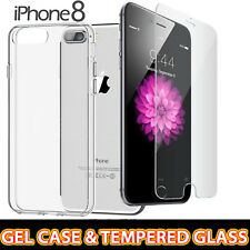 New Apple iPhone 8 Clear Hard Back Case Cover + Tempered Glass Screen Protector