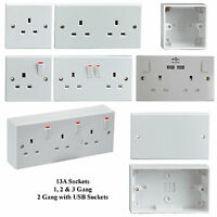 13A Single, Double & Triple Wall Sockets USB Sockets Blank Plates & Back Boxes