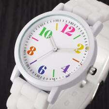 Ladies Womens Analog Silica Jelly Gel Quartz Sports Wrist Watch Gift White